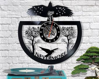 Vinyl Clock Nevermore/Raven wall clock/Raven Gift/Raven art/Nevermore Edgar Allan Poe/Raven wall decor/Original gift/Creative gift/Wall art
