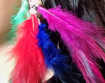 5 piece Feather Hair clip Extension customizable Hair Clip Blue Green Purple Rose and Red Feathers Mix and Match