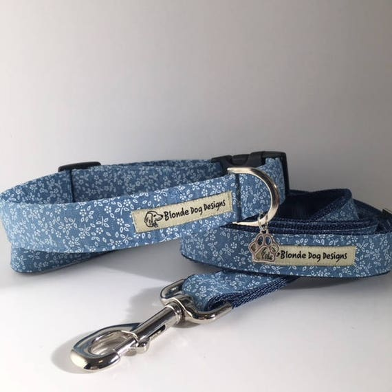 Floral Dog Collar, and, Floral Dog Lead, Limited Edition, Ditsy Denim Floral, Collar and Lead Set, Handmade in UK.