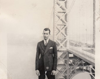 Vintage Photo Fashionable Dapper Man Posing Cliff Near Bridge Found Vernacular Black and White Photography Abstract Art Design Deocration