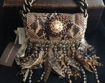 Fabulous Vintage MALINI MURJANI Authentic Snakeskin, Pheasant Feather and Gemstone Designer Handbag with Chain Strap - New with Tags