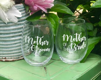 Mother of the Bide, Mother of the Groom Glass set