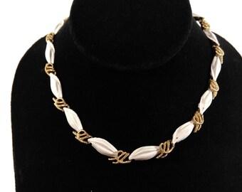 Vintage Trifari necklace choker gold tone white enamel conch costume