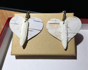 Birch Bark and Bone Feather Pendant Earrings