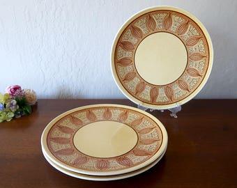 3 Dinner Plates, Taylor Smith & Taylor Honey Gold / Atomic Onion, Mid Century dinnerware, Taylor Smith dinner plates Taylorstone