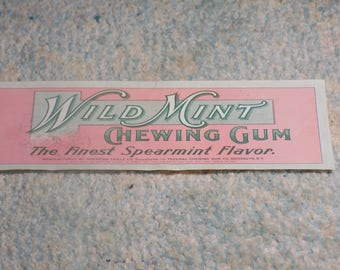 WILD MINT Chewing Gum Advertising Label