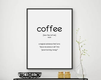 Sale 30% off, Funny Coffee Quote, Coffee Poster, Coffee Printable, Coffee Quotes, Coffee Lovers Gift, Coffee Definition Print