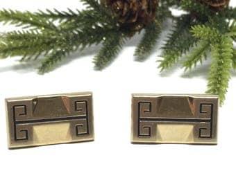 Hickok Vintage Gold Tone Rectangular Cufflinks with Black Enamel Greek Key