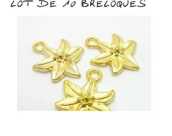 Set of 10 flower charms gold gilt (A69)