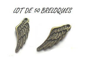 set of 50 (T29) Bronze angel wing charms
