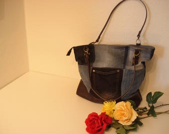 Double bag handle recycling jeans / denim with Brown leatherette base.