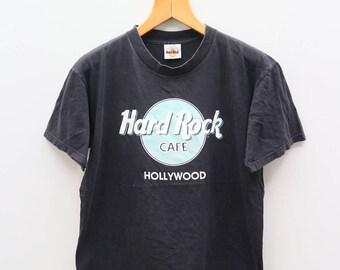 Vintage HARD ROCK CAFE Hollywood Black Tee T Shirt Size M