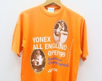 Vintage YONEX All England Open 99 Badminton Championship Arena Birmingham Sportswear Orange Tee T Shirt Size M