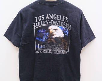 Vintage HARLEY DAVIDSON Motorcycles Los Angeles California Black Tee T Shirt Size L