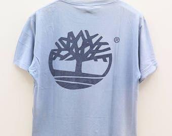 Vintage TIMBERLAND Big Logo Casual Streetwear Blue Tee T Shirt Size S