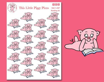 Oinkers Reads a Book #2 - Reading Planner Stickers - Book Planner Stickers - Read - Book Stickers - Planner Stickers - [Hob 1-05]