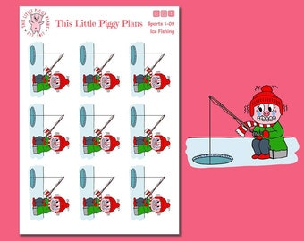 Ice Fishing Planner Stickers - Ice Fishing - Winter Activities - Fishing Planner Stickers - This Little Piggy - Pig Stickers [Sports 1-09]