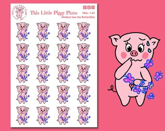 Oinkers has the Butterflies - Anxiety Stickers - Feeling Nervous - Feeling Anxious - Butterflies Planner Stickers - Pigs - [Misc. 1-81]