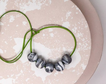 Khaki and Marble Necklace, Green, Grey Chunky Bead Necklace, Contemporary Statement Necklace