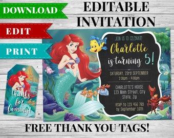 Little Mermaid Invitation, Ariel Invitation, Little Mermaid Birthday Printable, Ariel Birthday Party Favors, Little Mermaid Thank You Tags