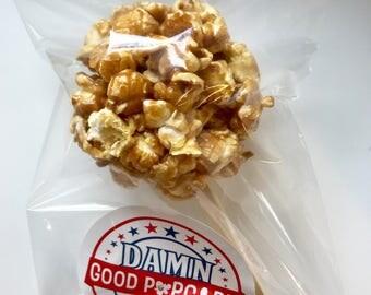 Gourmet Caramel Popcorn Balls on a Stick