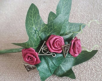 Harry Potter Deathly Hallows mens wedding buttonhole. Cosplay, hogwarts, horcrux, voldemort, groom, best man.