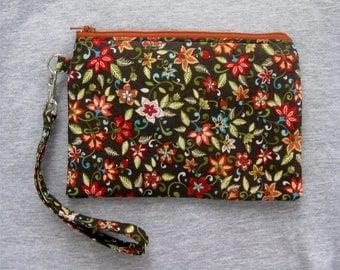 Floral Wristlet Purse - Wristlet Clutch - Wristlet Pouch - Brown Clutch - Wristlet Wallet - Clutch Purse - Vegan Bag - Zipper Purse - Clutch