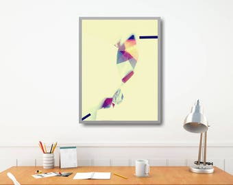 Large Geometric Wall Decor, Modern Geometric Art Print, Origami Art Print, Christmas Gift Modern Poster, Large Geometric Poster, Xmas Wife