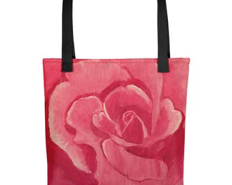 Tote bag with pink rose painting