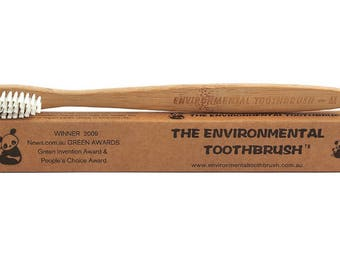 The Environmental Toothbrush.Eco Friendly Bamboo Toothbrush.Vegan.Bamboo Fibre Bristles.Biodegradable.Natural.100% Compostable.BPA Free.