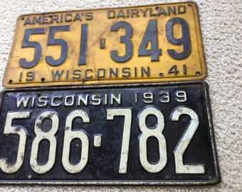 Pair of Old WISCONSIN LICENSE PLATES