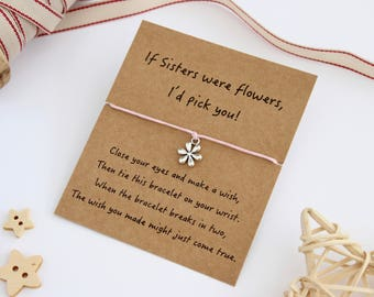 Sister Wish Bracelet, Wish Bracelet, Sister Bracelet, Sister Jewellery, Sister Gift, Charm Bracelet, If Sisters were Flowers