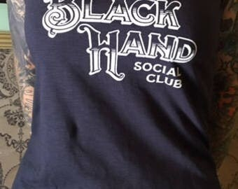 Black Hand Social Club Tank Top Girls Tattoo Fashion Motiv4 SIZE M NAVY-BLUE