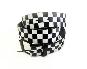 90s Checkered Black and White Ska Pop Punk Genuine Leather Belt Size Medium