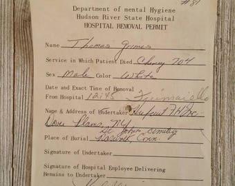 Morgue Removal Permit   Hudson River State Hospital Asylum Ephemera   Authentic 1979   Insane Asylum   HRPC