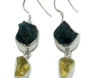Raw Citrine Earrings, Handmade Earrings, Dangle Drop Earrings, Apatite Earrings, Designer Earrings, Bezel Set Earrings, Women Birthday Gift