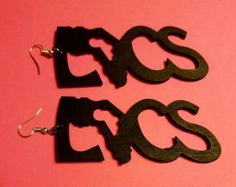 Wooden Handpainted Locs Earrings