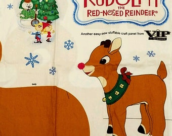 Rudolph the Red Nosed Reindeer Fabric Panel. Cut and Sew. Vintage VIP Cranston. Reindeer Fabric Doll.  Cloth Toy Doll. Christmas Decoration
