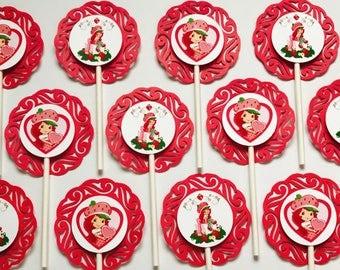 "12 STRAWBERRY SHORTCAKE Cupcake Topper - Party Picks - DISNEY - (2.5"" diameter)"