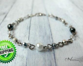 White Clear Silver Hematite Crystal bracelet Natural Hematite jewelry Gemstone Bib bracelet Bubble bracelet One strand Christmas bracelet