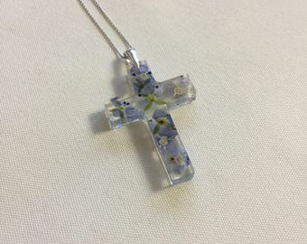 925 Sterling Silver Cross Necklace with real flowers in resin necklace cross