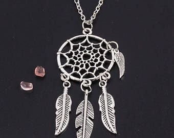 Feather Accented Dreamcatcher Necklace