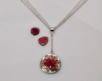 Watermelon tourmaline pendant necklace - handmade