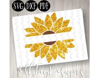 Flower monogram svg, sunflower svg, sunflower cut files, sunflower monogram, split frame sunflower svg, circle frame, silhouette cut files