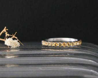Nov Birthston Wedding Ring 14K White Gold Yellow Citrine Wedding Ring Half Eternity Yellow Citrine Ring Gemstone Engagement Ring Bridal Ring