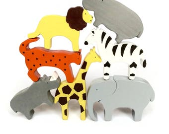 Safari animals wooden toy set - painted waldorf figurines - eco friendly gifts for kids - balancing game with elephant, giraffe...