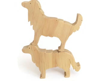 Wooden toy dogs - waldorf border collie and golden retriever - unpainted natural toys - eco friendly