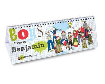 Personalised Bang On The Door Boys Desk Calendar Gifts Ideas For School Kids Childrens Year Table