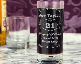 Personalised Classic Whisky Hi Ball Bubble Glass Whiskey Gifts Ideas For Mens Him Birthday Age 18th 21st 30th 40th Dad Uncle Brother Son