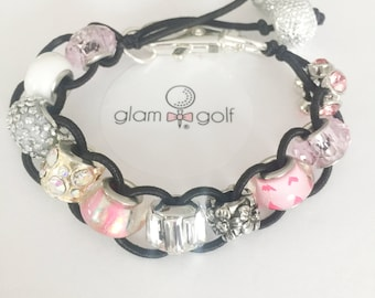 Classy Beaded golf score stroke counter bracelet or clip on your golf bag pink and white crystal beads